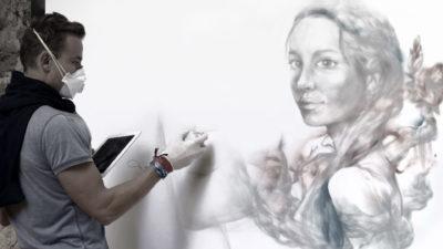 Live painting festival Street Art à Aix en Provence - peinture par Enkage