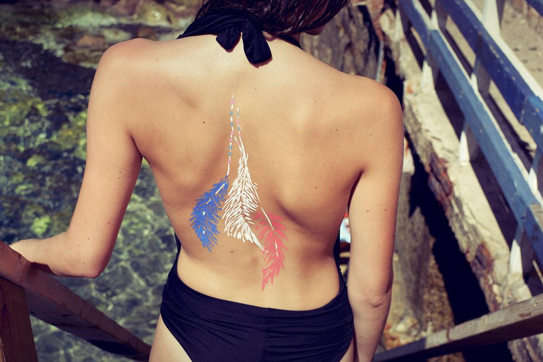 Un bodypainting élégant en festival avant la finale de l'euro 2016