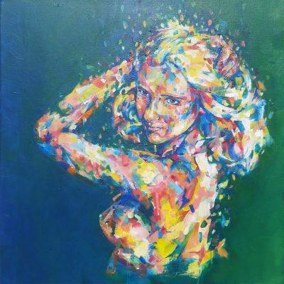 Portrait femme qui danse en couleurs par l'artiste Enkage