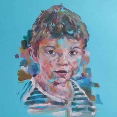 Portrait enfant peinture réalisé par l'artiste Enkage