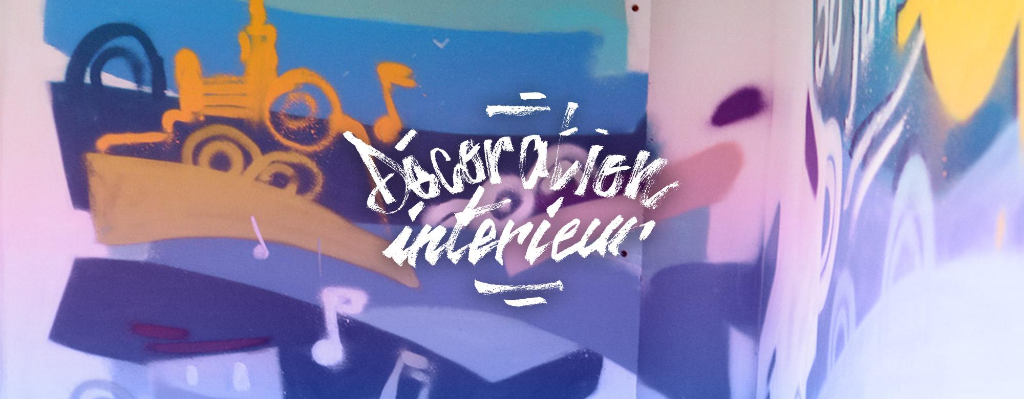 Peinture décoration pour un intérieur moderne en graffiti par le graffeur Enkage