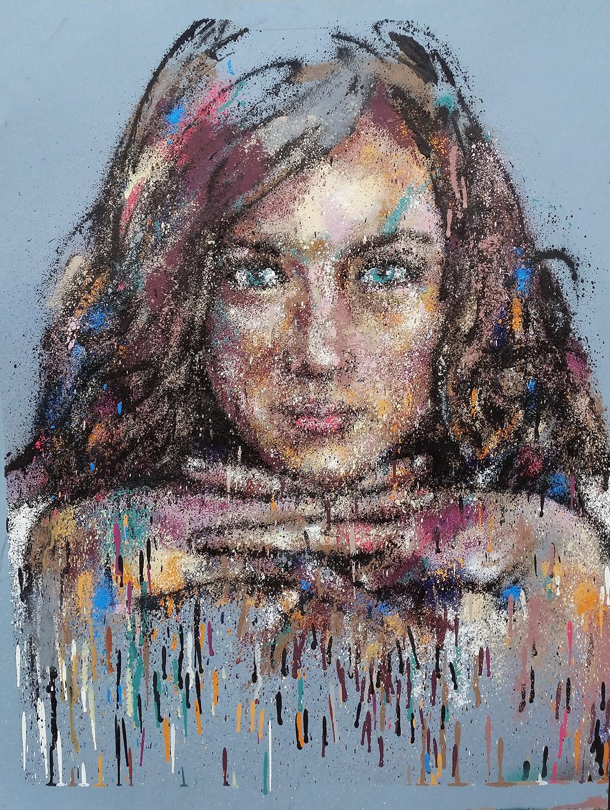 Peinture de femme contemporaine à la bombe de graffiti sur feuille par Enkage