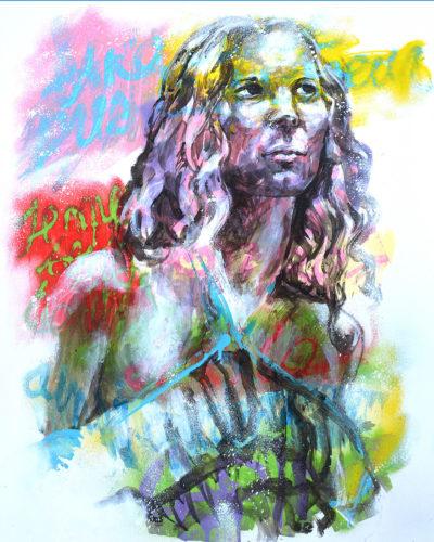 Peinture femme rêveuse par l'artiste Enkage