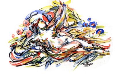 """Peinture Vénus urbaine et moderne à l'aquarelle - """"Nombre un"""" par Enkage"""