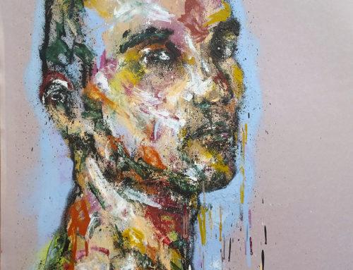 Peinture sur feuille: Homme à la bombe graffiti