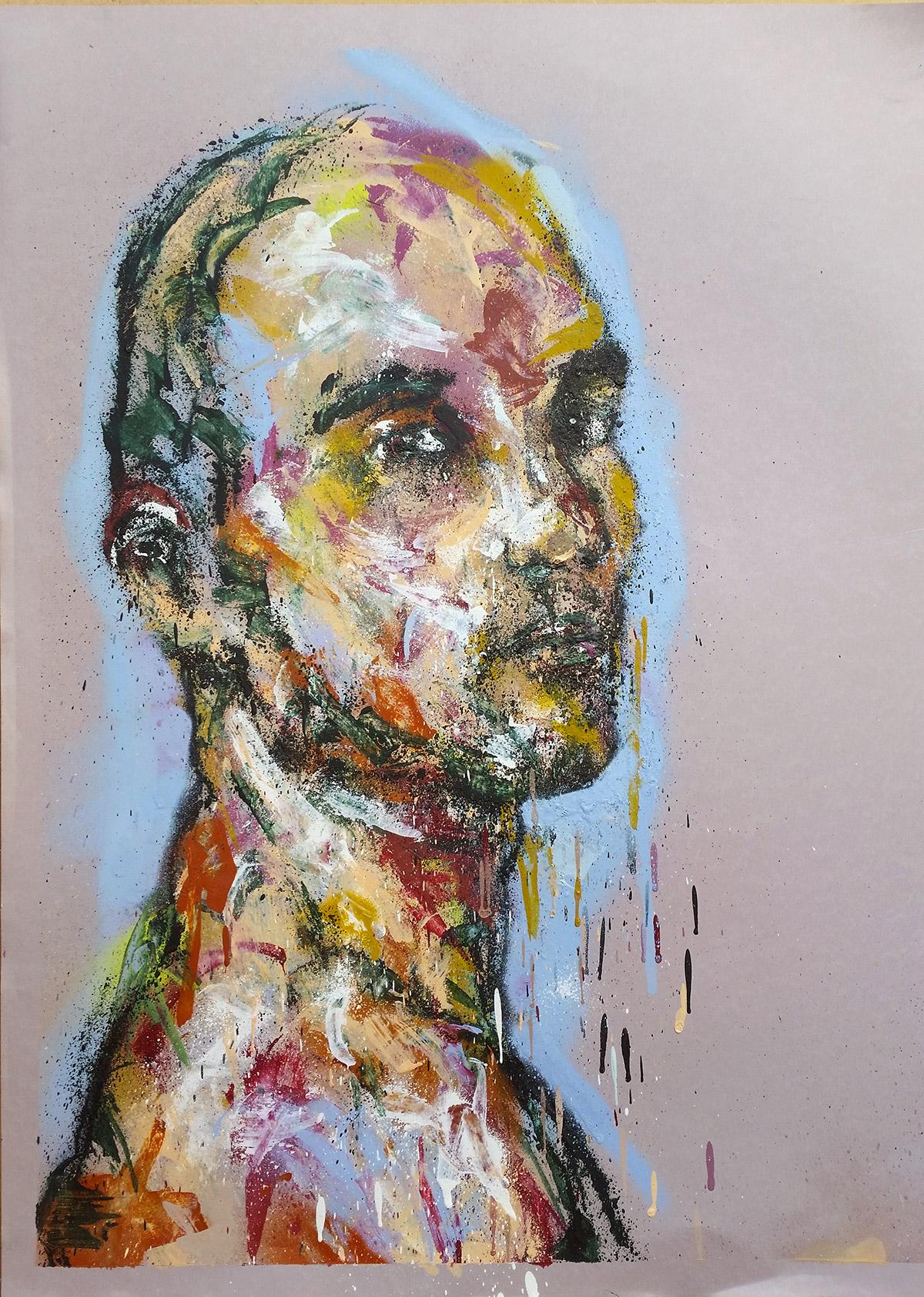 Peinture sur feuille par l'artiste Enkage