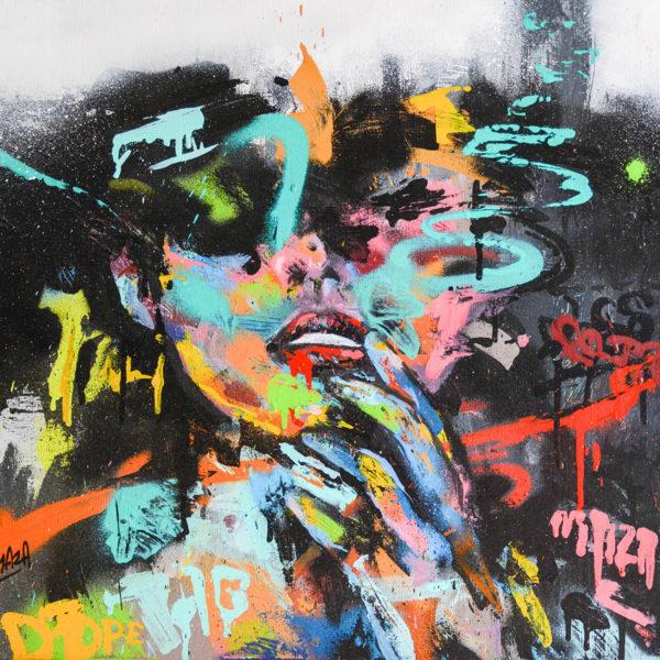 Peinture amour - Acrylique et bombe aérosol graffiti par l'artiste Enkage