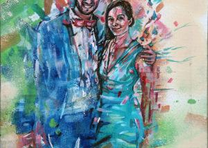 Photo en tableau de jeunes mariés en peinture par l'artiste Enkage