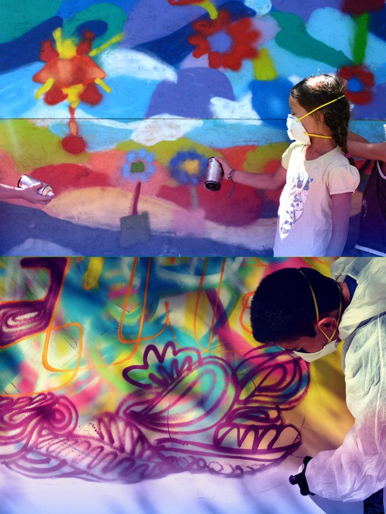 Atelier graffiti animé par l'artiste Enkage pour de jeunes enfants à Gréasque