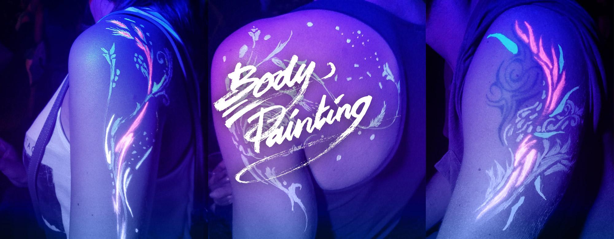 Body painting fluo en soirée par l'artiste Enkage