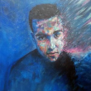 Portrait peinture sur commande commandée pour un cadeau et réalisée par l'artiste Enkage