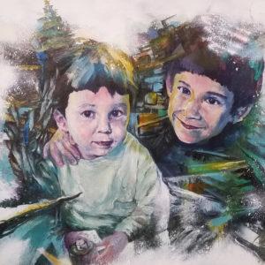 Portrait peinture sur commande, le cadeau d'une famille en peinture acrylique sur le thème de Noël par l'artiste Enkage