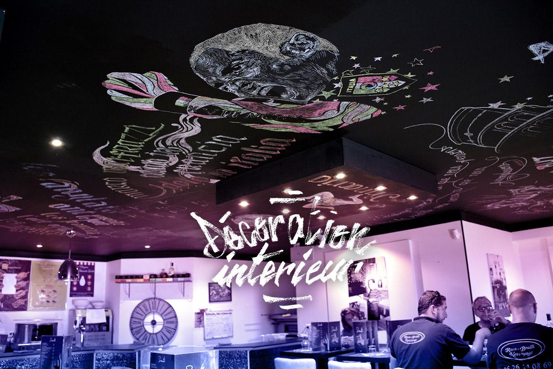 La création de votre peinture décoration intérieur: le plafond du restaurant La Sérénita à Gardanne par l'artiste Enkage