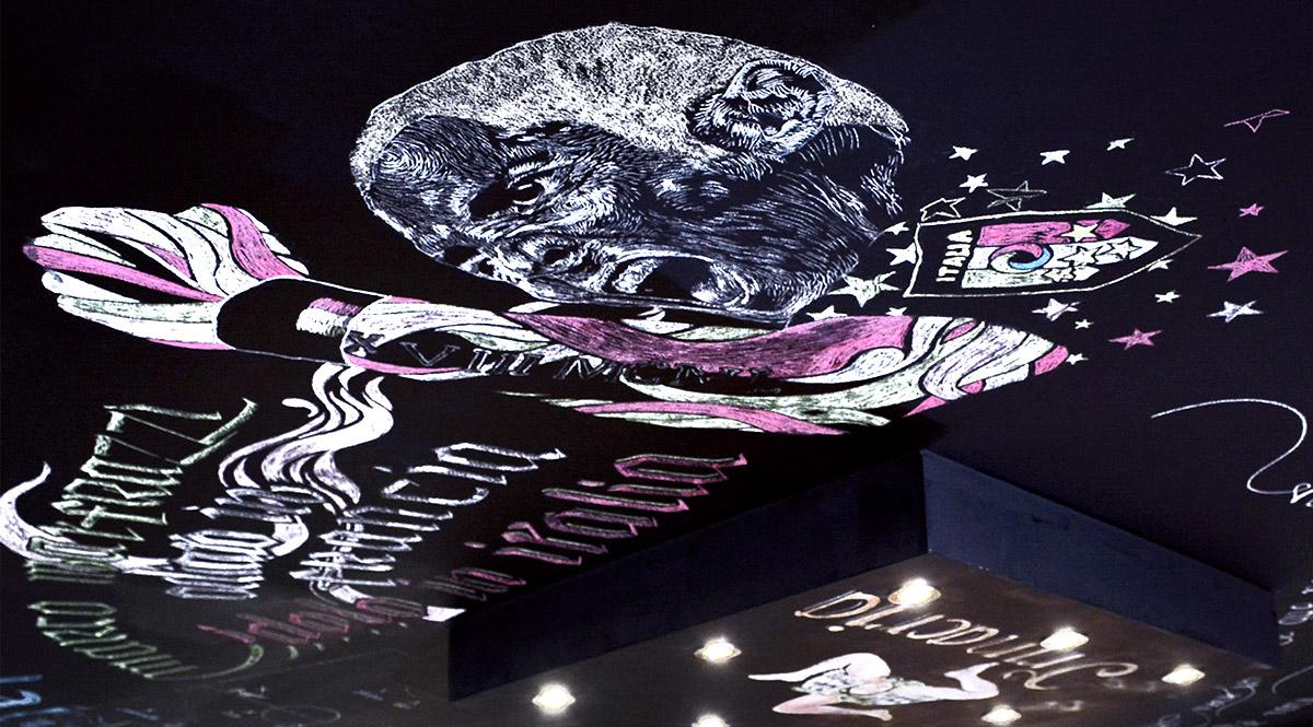 Décoration de restaurant Italien: Gennaro Gattuso réalisé à la craie par Enkage