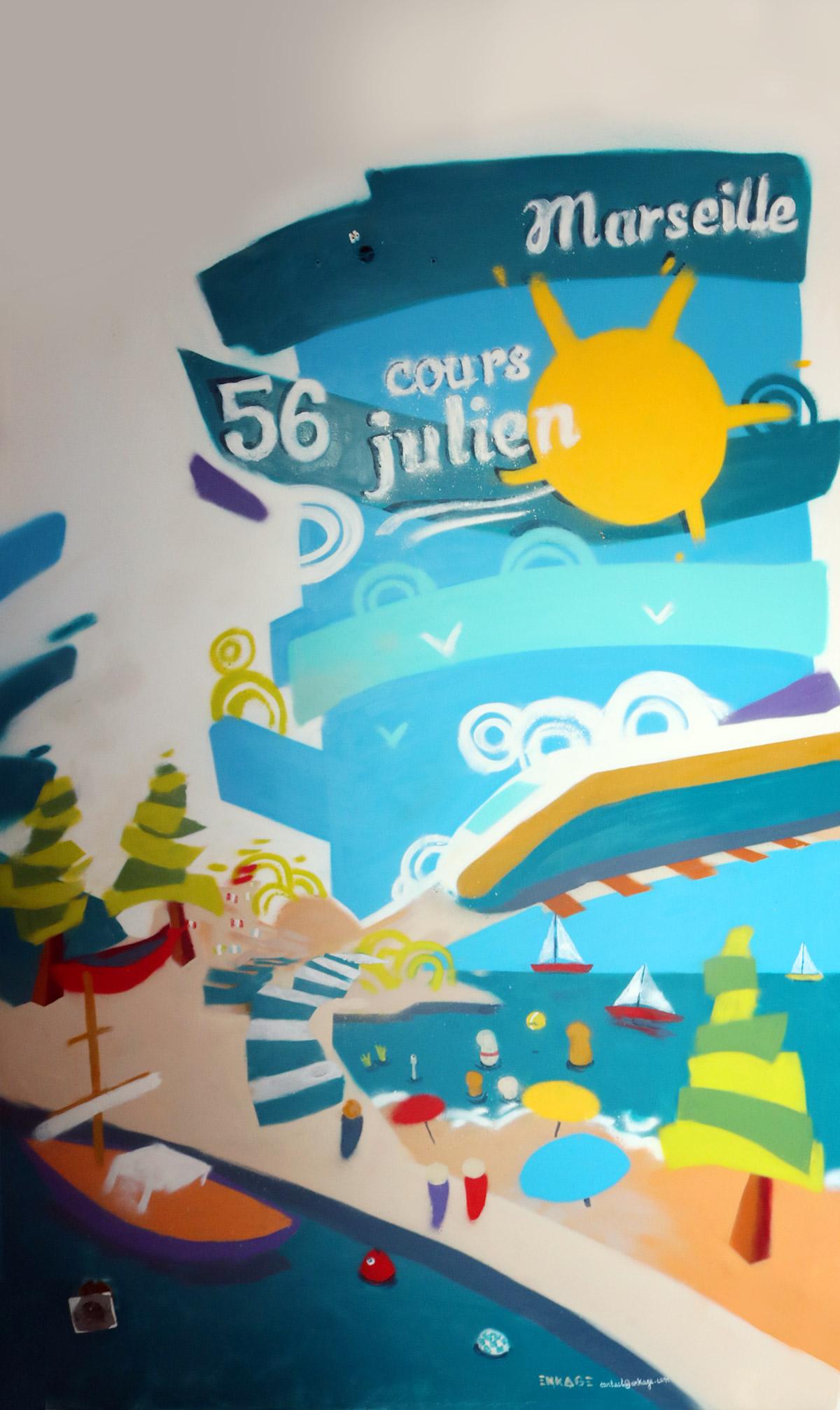 Peinture décoration intérieur moderne en graffiti pour un appartement de location saisonnière sur Marseille réalisé par Enkage