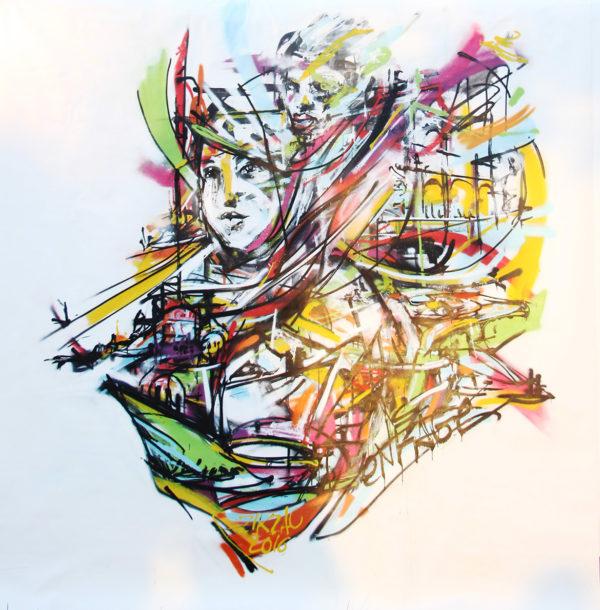 Live painting par l'artiste peintre graffeur Enkage