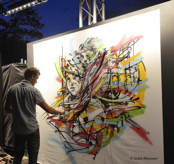 Un peu de recul sur la réalisation en live avec les bombes de graffiti au Zik Zac festival de musique à Aix en Provence