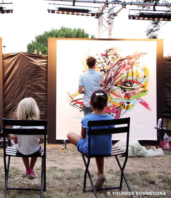 Réalisation street art en live painting sous les yeux des enfants, un événement pour tout public