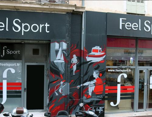 Graffiti décoration commerce au pochoir à Marseille