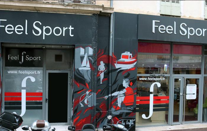 Graffiti décoration commerce salle de sport à Marseille par Enkage
