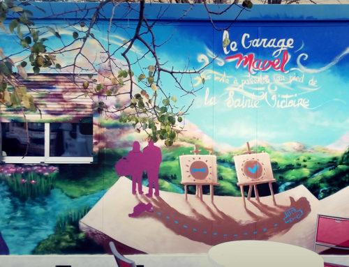 Graffiti décoration de façade: Le garage Mavel à Gardanne