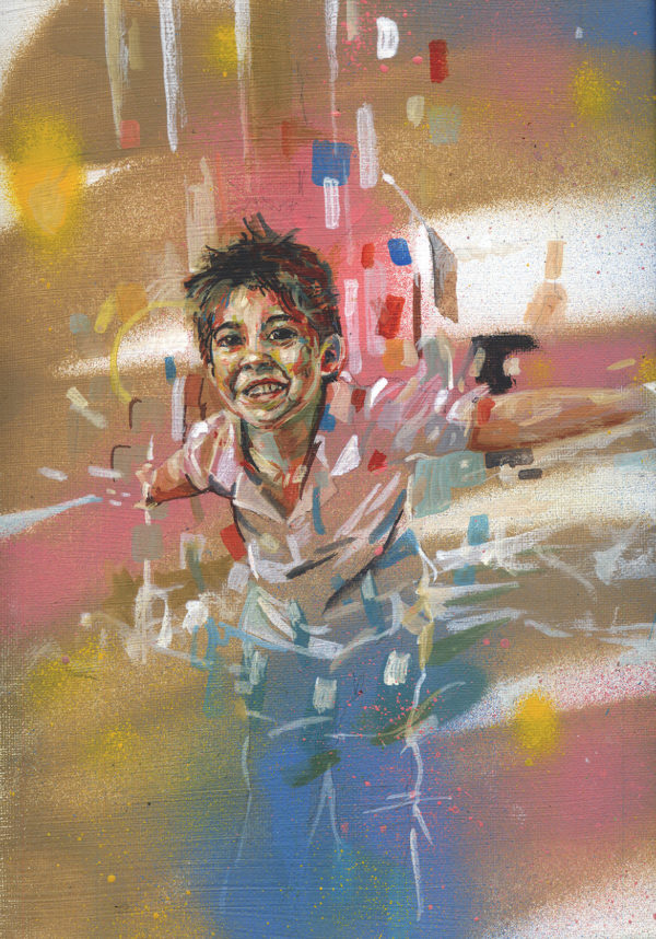 Portrait peinture enfant par l'artiste peintre Enkage