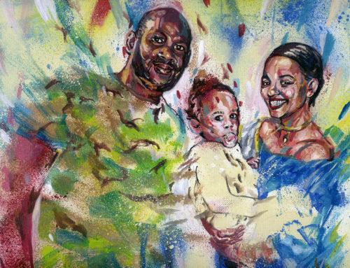 Portrait personnalisé en peinture d'une famille
