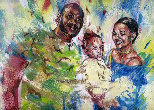 Portrait personnalisé en peinture d'une famille par Enkage
