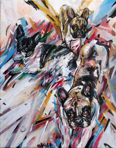 Peinture chien: commande de portrait d'animaux réalisée par l'artiste Enkage