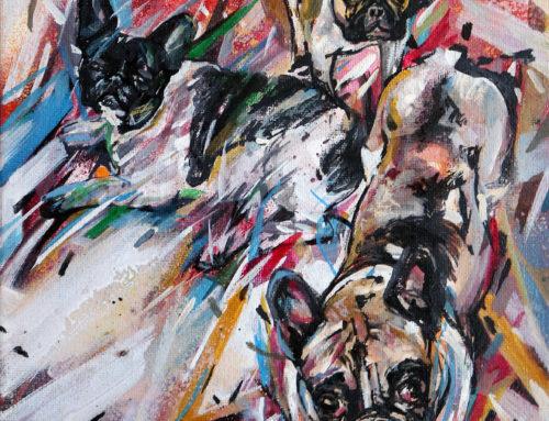 Peinture chien sur commande: pas 1 mais 3!