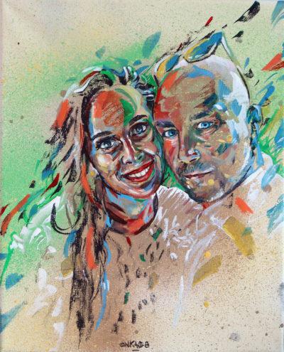 Un portrait sur commande comme cadeau de mariage crée par le peintre Enkage