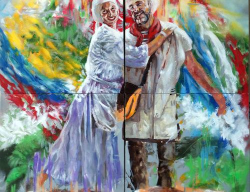 Portrait couple cadeau en peinture contemporaine