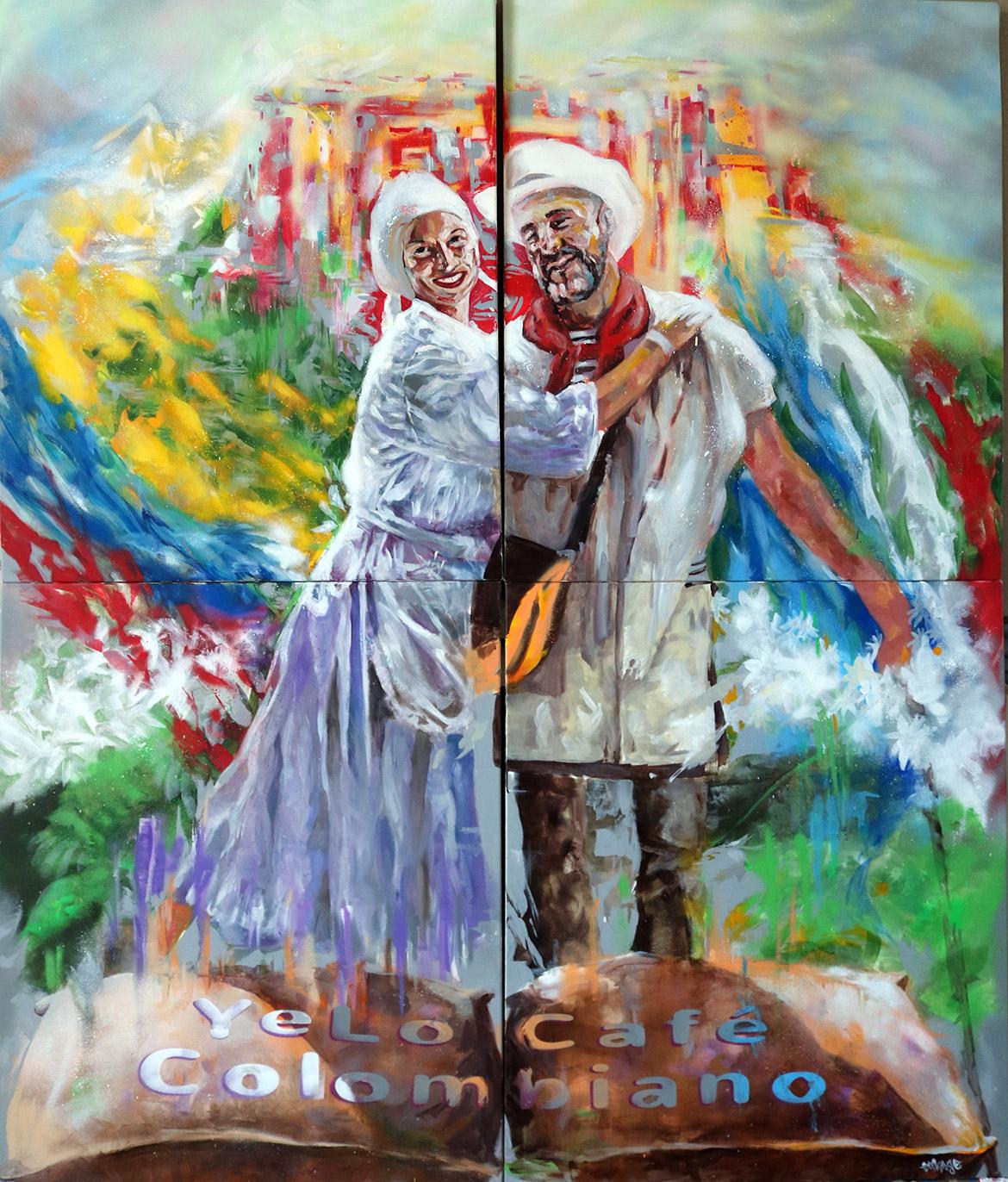 Portrait couple cadeau en peinture par l'artiste Enkage