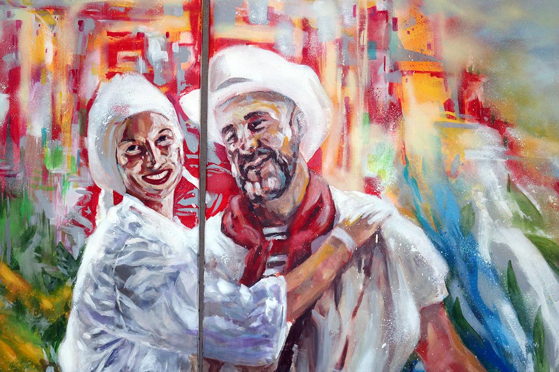Portrait couple cadeau: détail de la peinture par l'artiste peintre Enkage