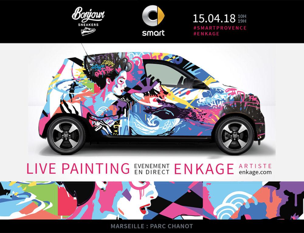 Peinture en live de voiture SMART au salon Bonjour Sneakers à Marseille