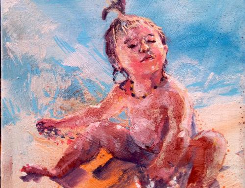 Peinture d'enfant portrait sur la plage