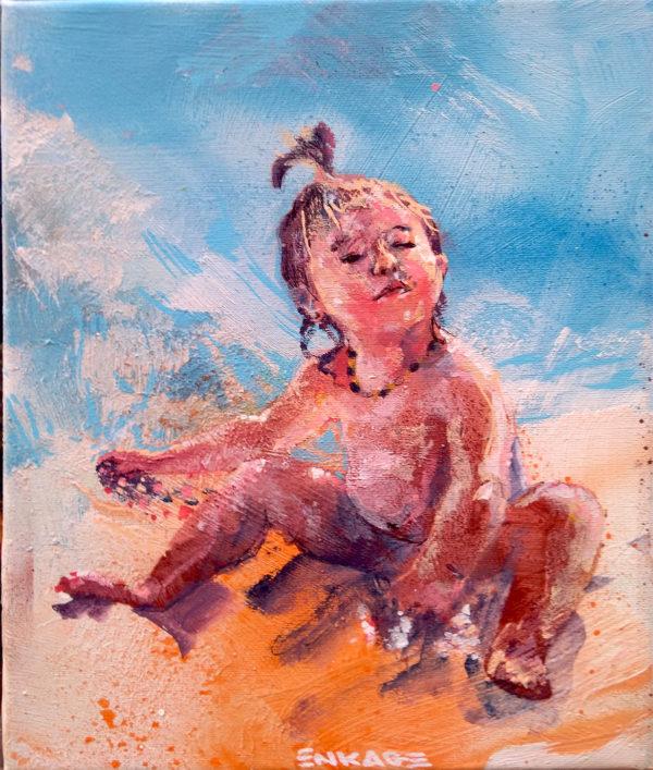 Peinture d'enfant portrait sur la plage par Enkage