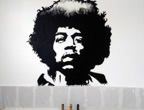 Peinture street art décoration de commerce: Jimi Hendrix en portrait pour un restaurant bar