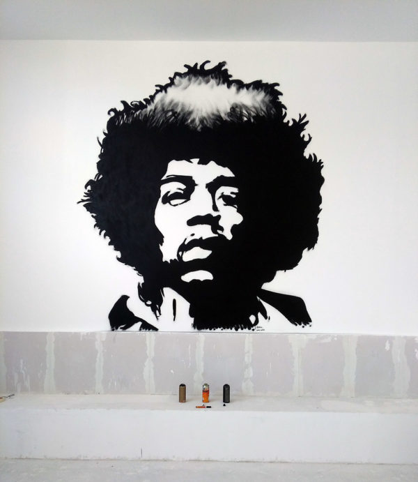 Peinture Street art Commerce Restaurant Bar Jimi Hendrix Enkage
