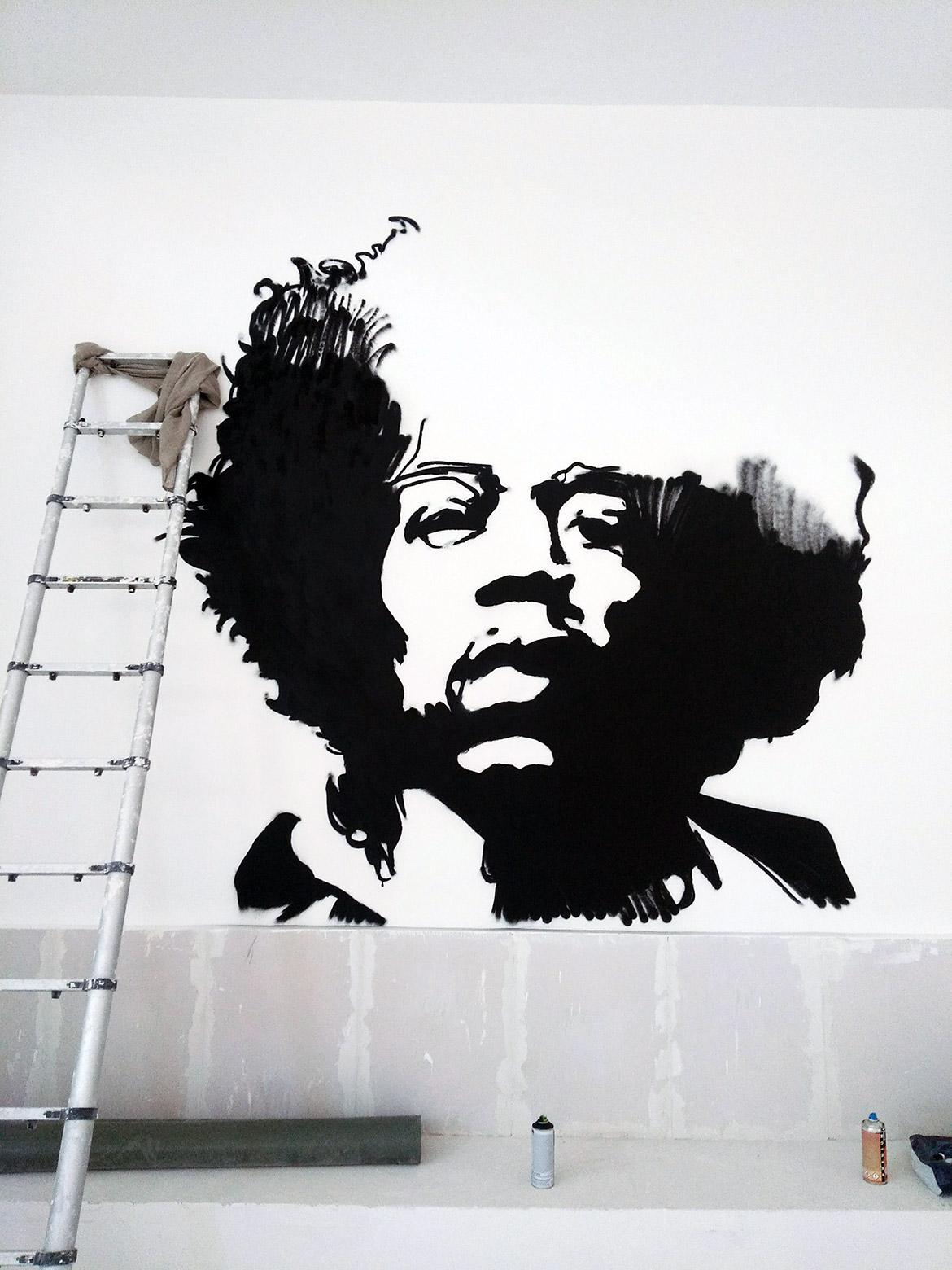 Peinture Street Art Décoration Commerce Jimi Hendrix