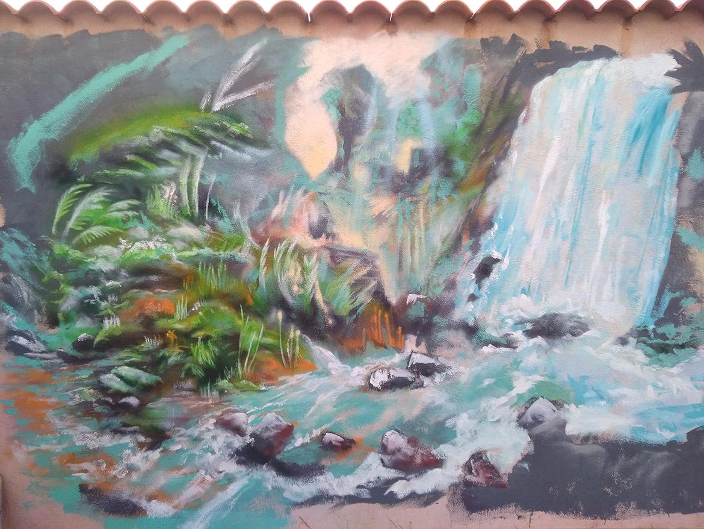 Peinture jardin: décoration extéreur de paysage, chute d'eau