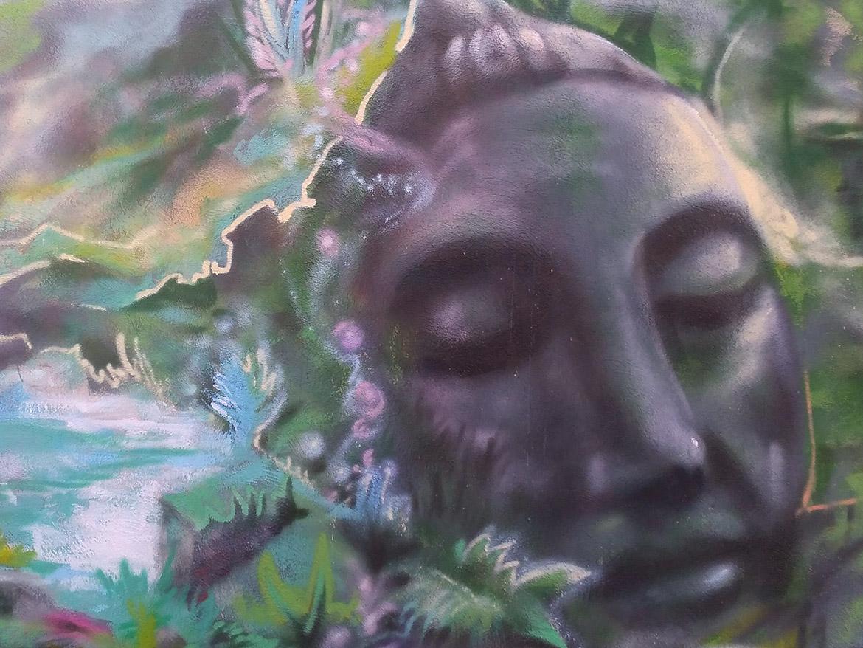 Peinture street art urbain Bouddha par Enkage