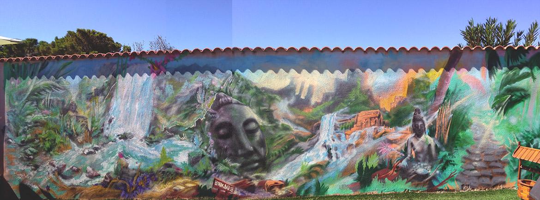 Décoration Bouddha en peinture paysage pour le mur de votre jardin par Enkage