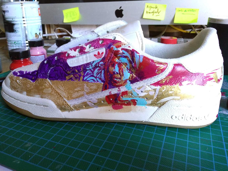 Sneaker de collection peinture customisation basket par enkage