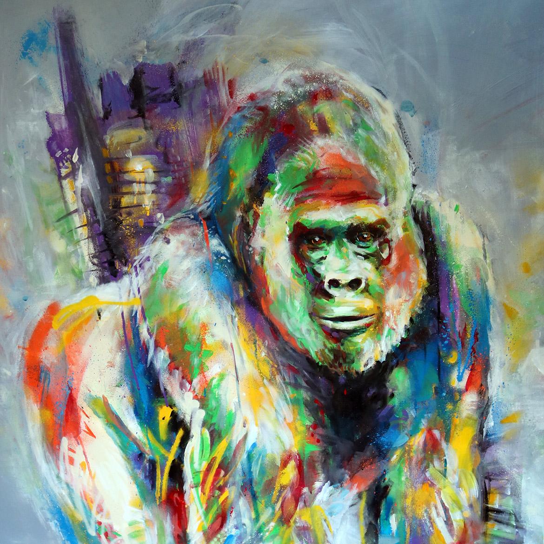 Peinture street art de gorille et animaux par Enkage