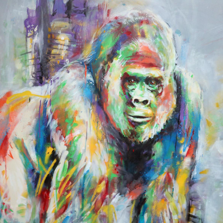 Gorille en peinture par l'artiste peintre animalier Enkage