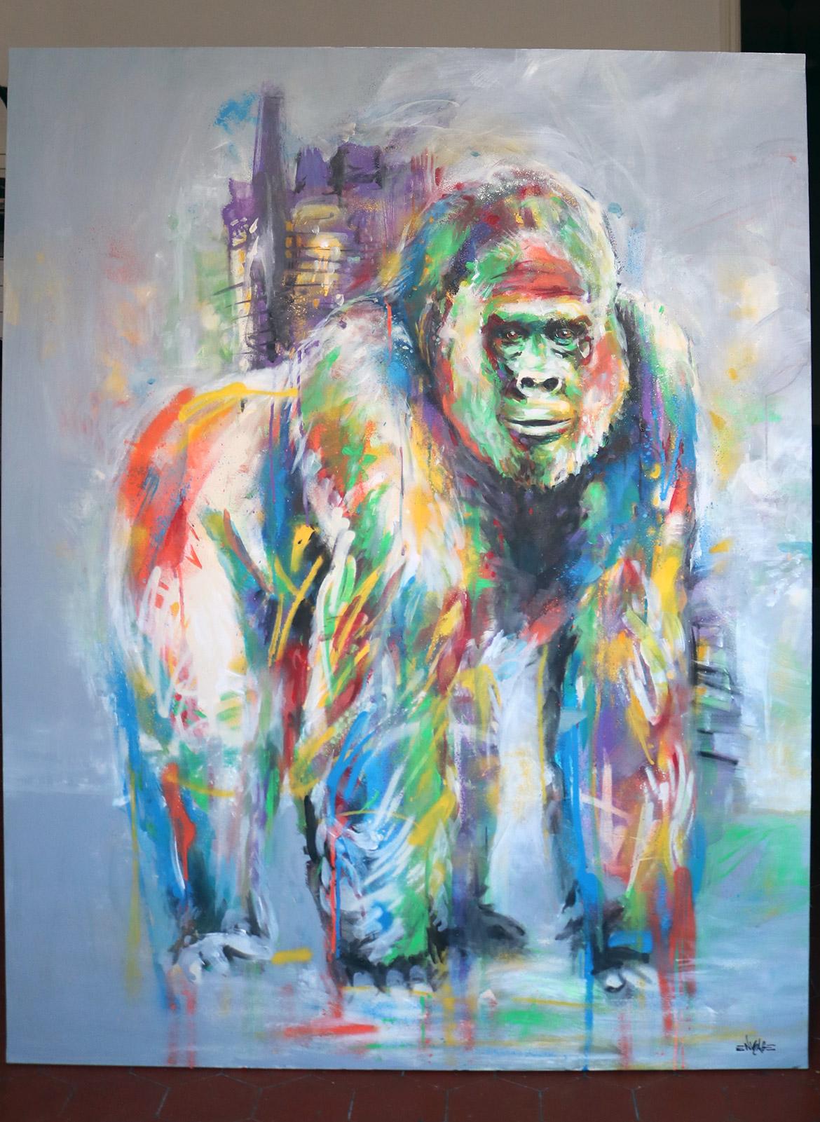 Street art coloré en commande de peinture gorille par Enkage