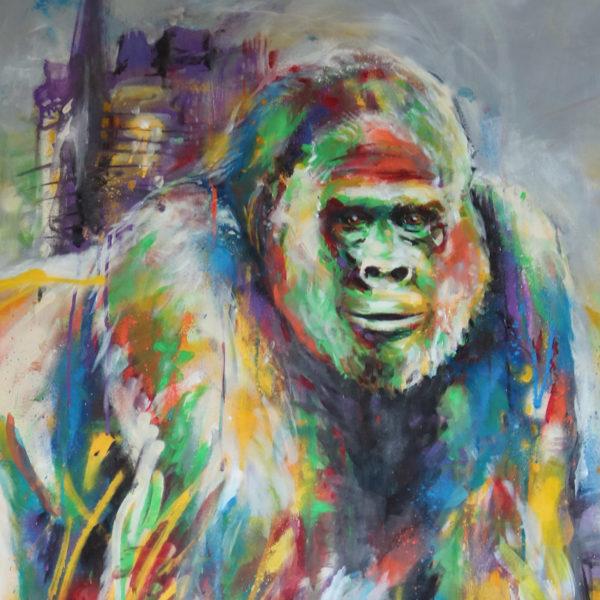 Peinture street art gorille par Enkage