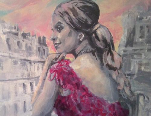 Commande de portrait d'artiste avec Alia pour L'Oréal en peinture