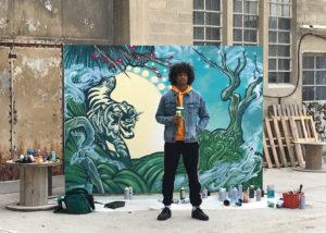 Art urbain : Fresque en peinture pour une publicité Subway par Enkage